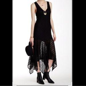 Free People lila black lace maxi dress - medium